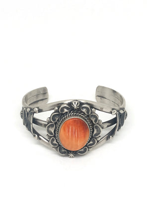 Load image into Gallery viewer, Navajo Orange Spiny Oyster Cuff by Artist Landoll Benally
