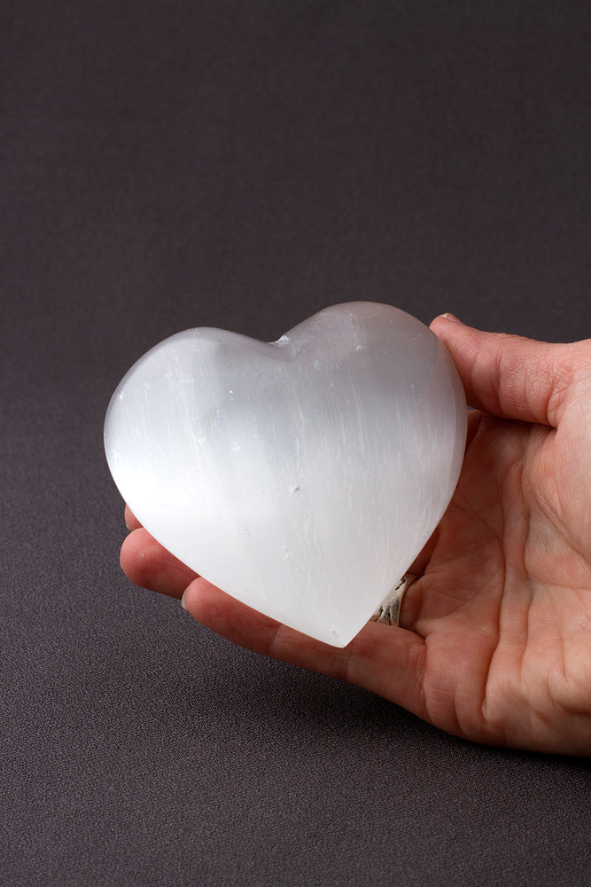 Large Selenite Crystal Heart