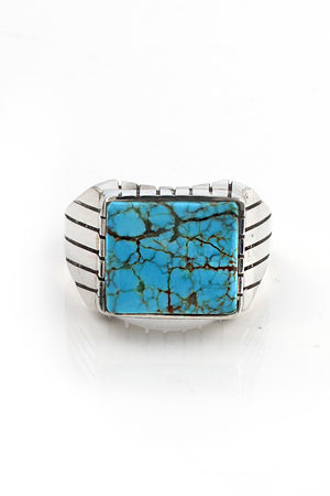 Blue Turquoise Modern Men's Ring (Size 10.5)