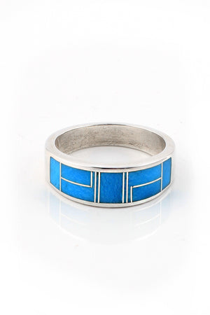 Mens Inlay Turquoise Ring