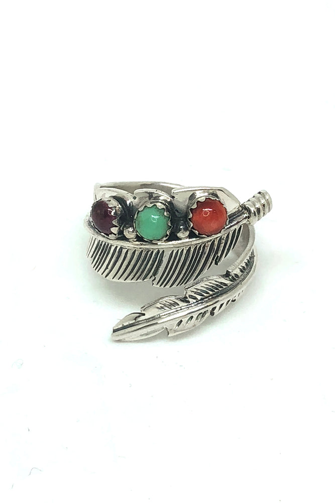 Multi-Stone Sterling Silver Adjustable Feather Ring (size 9)