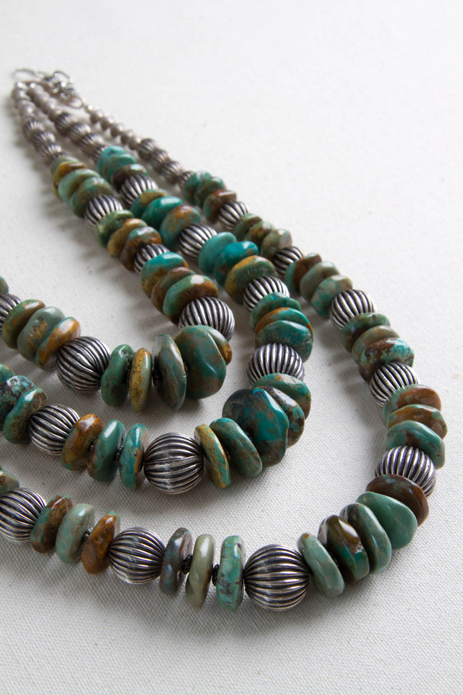 Green Turquoise and Oxidized Sterling Silver Bead Necklace