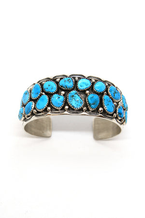 Load image into Gallery viewer, Ted Secatero Natural Kingman Turquoise Row Cuff