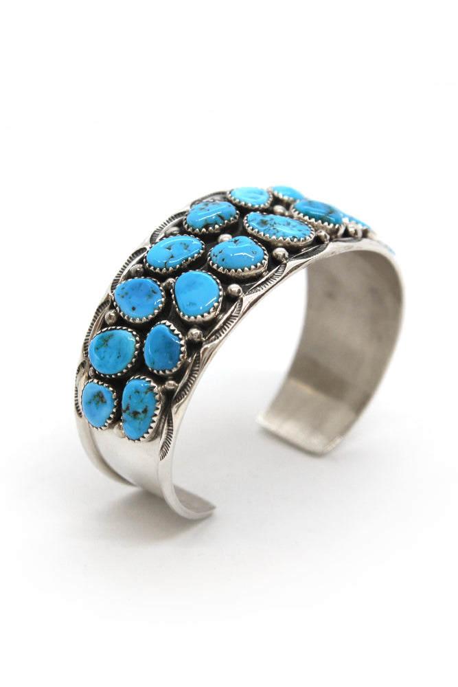 Ted Secatero Natural Kingman Turquoise Row Cuff