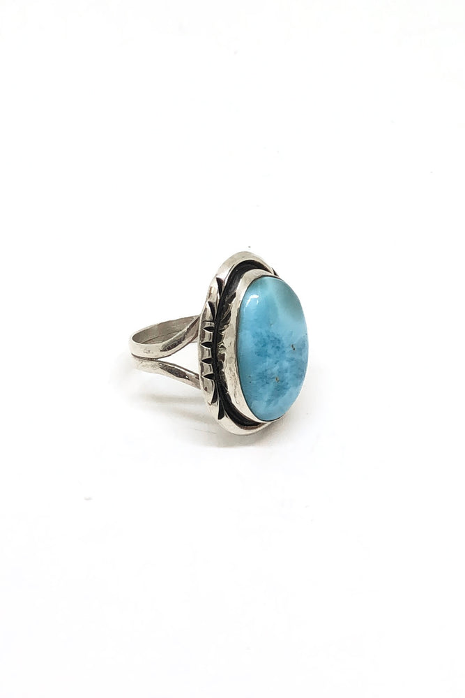 Navajo Larimar and Sterling Silver Ring (Size 6 ½)