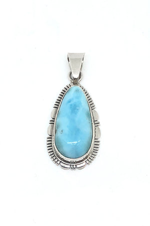 Medium Teardrop Sterling Silver Larimar Pendant