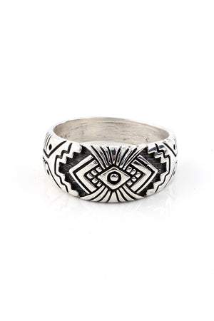 Load image into Gallery viewer, Rug Design Sterling Silver Men's Ring (Size 12.5)