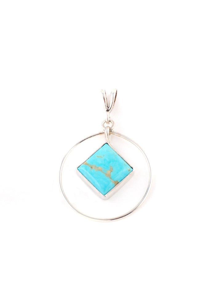 Turquoise  Sterling Silver Orbit Pendant