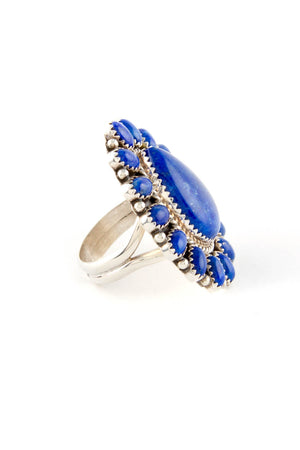 Lapis Lazuli Cluster Sterling Silver Ring (Size 8 ¾)