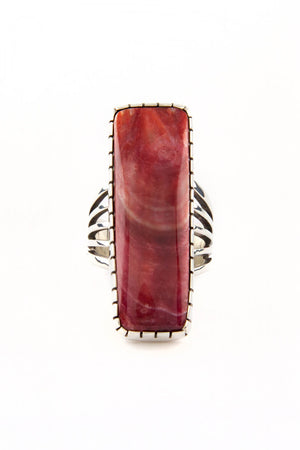 Red Spiny Oyster Modern Rectangle Sterling Silver Ring (Size 6 ¾)
