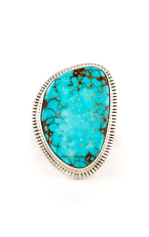 Navajo Blue Kingman Turquoise Sterling Silver Ring (Size 7 3/4)