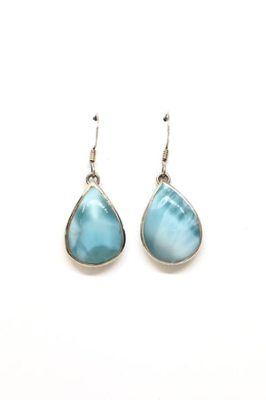 Sterling Silver Teardrop Larimar  Earrings