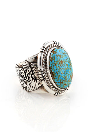 Number 8 Turquoise Navajo Men's Ring (Size 11.5)