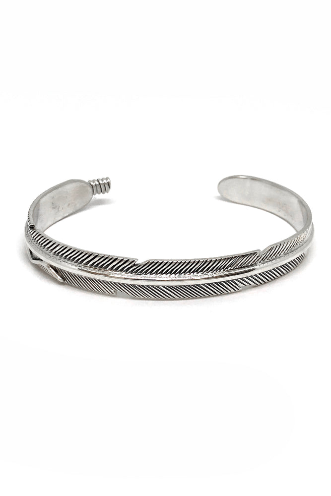 Thin Navajo Feather Sterling Silver Cuff Bracelet