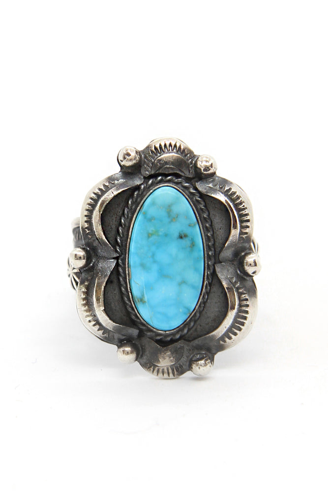 Tom Gilbert Kingman Turquoise Repousse Ring (Size 9)