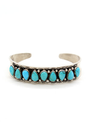Load image into Gallery viewer, Navajo Turquoise Row Bracelet