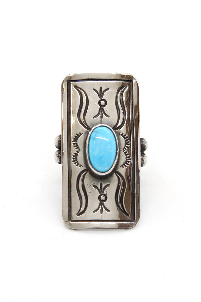 Turquoise and Sterling Silver Navajo Shield Ring (Size 7)