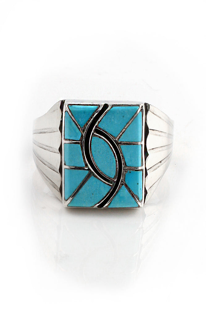Zuni Turquoise Hummingbird Inlay Ring (Size 13)