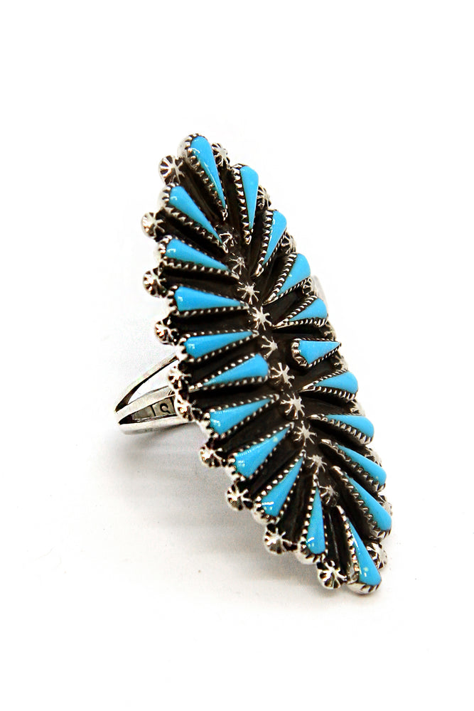 Zuni Turquoise Oval Petit Point Ring (Size 6)