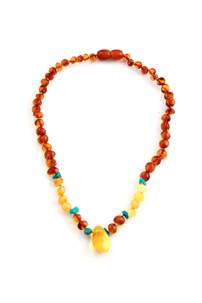 Childrens Turquoise and Amber Teething Necklace