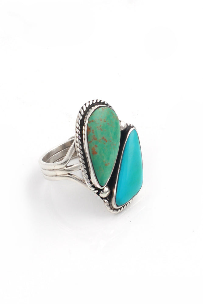 Load image into Gallery viewer, Two Stone Modern Turquoise Navajo Ring (Size 9.25)