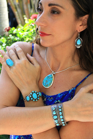 Light Blue Turquoise Earrings by Michael and Rosita Calladitto