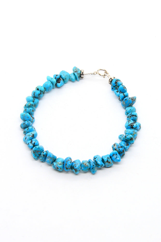 Load image into Gallery viewer, Blue Turquoise Nugget Bead Bracelet