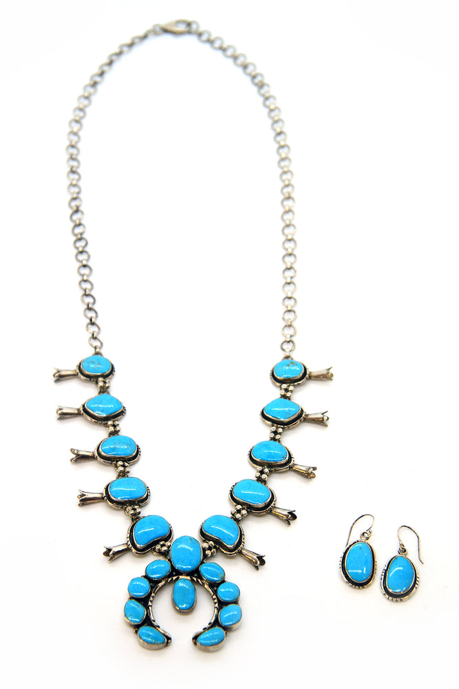 Ted Secatero Turquoise Squash Blossom Necklace with Earrings