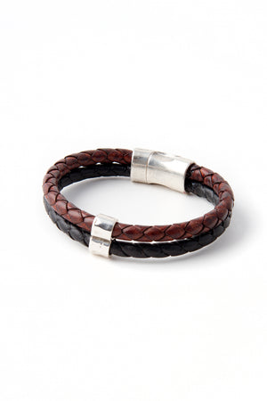 Black and brown braided Italian Leather two strand bracelet with hammered pewter accent piece