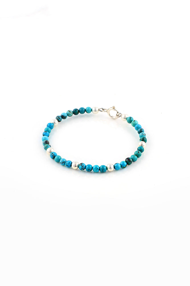 Children's Turquoise and Silver Bead Bracelet