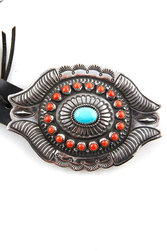 Turquoise and Coral Sterling Concho Belt