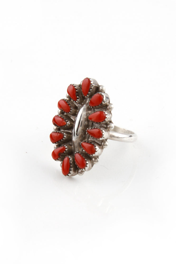 Zuni Oval Coral Cluster Ring (Size 7.5)