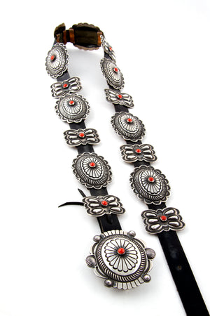 Narrow Repousse Coral Concho Belt