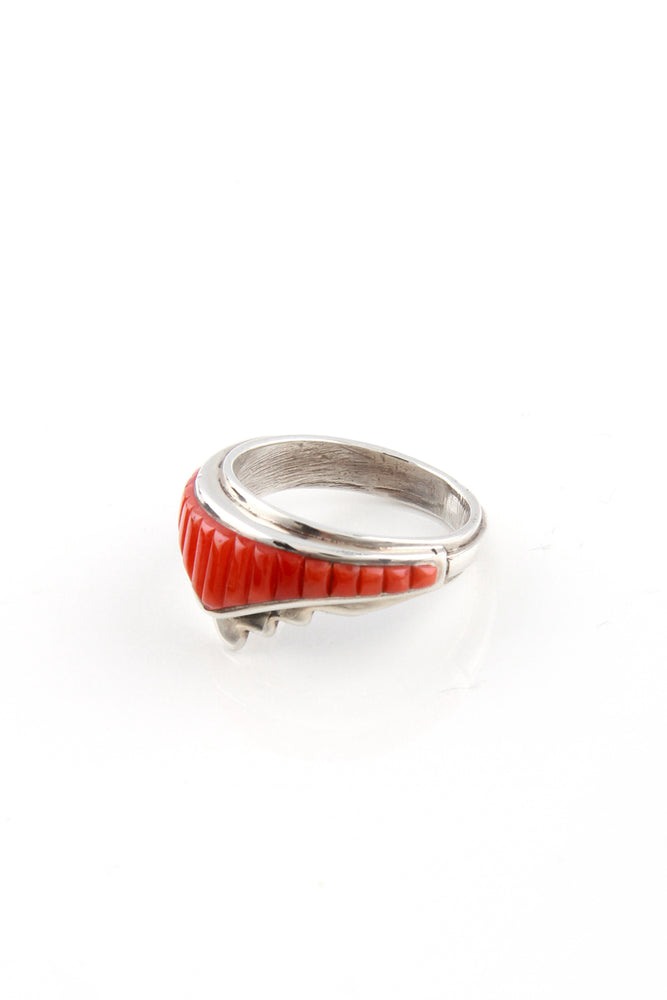 Red Coral Cobblestone Inlay Ring (Size 6)