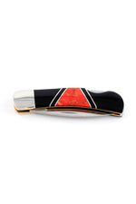 Red Coral and Jet Inlay Knife