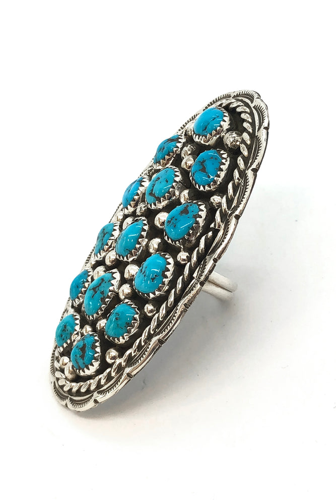 Load image into Gallery viewer, Darlene Begay Kingman Turquoise Cluster Ring (size 8)