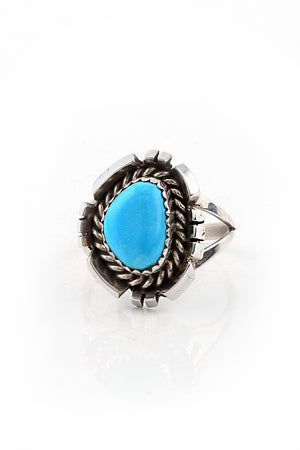 Load image into Gallery viewer, Sterling Silver Turquoise Navajo Ring (Size 7.5)