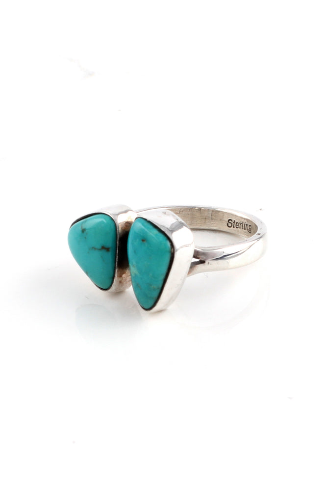 Load image into Gallery viewer, Double Stone Kingman Turquoise Ring (Size 7 adjustable)