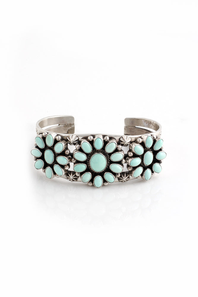 Dry Creek White Turquoise Cluster Row Cuff