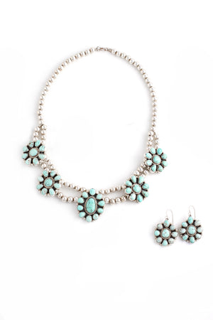Load image into Gallery viewer, Dry Creek White Turquoise Cluster Necklace Set