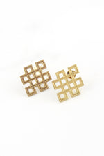 Gold Plated Endless Knot Post Earrings