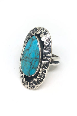 Everett and Mary Teller Sterling Silver and Turquoise Ring (Size 7)