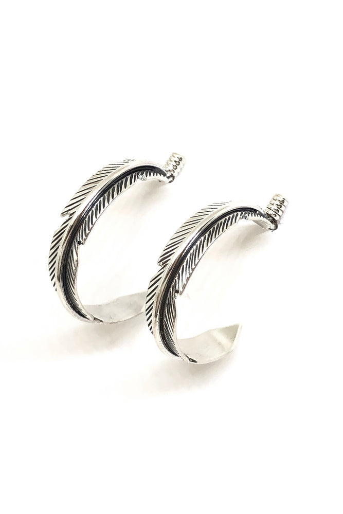 Load image into Gallery viewer, Navajo Sterling Silver Feather Hoop Earrings