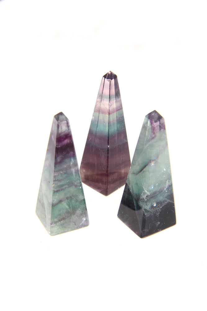 Load image into Gallery viewer, Tiny Green Rainbow Fluorite Obelisk