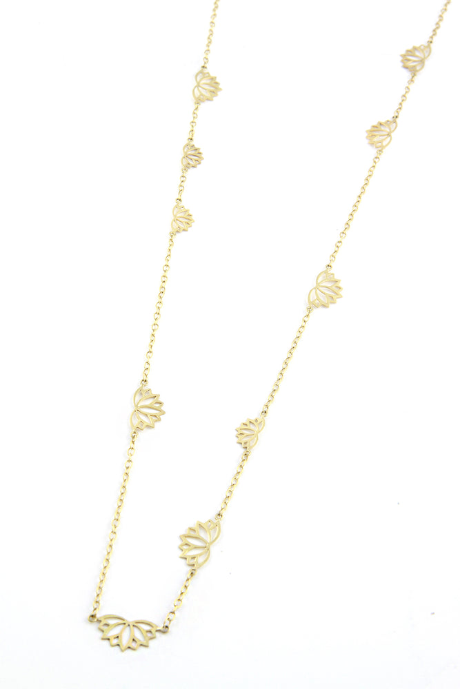 Gold Plated Lotus Flower Necklace