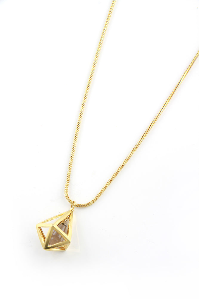 Gold Plated Smoky Quartz Cage Necklace