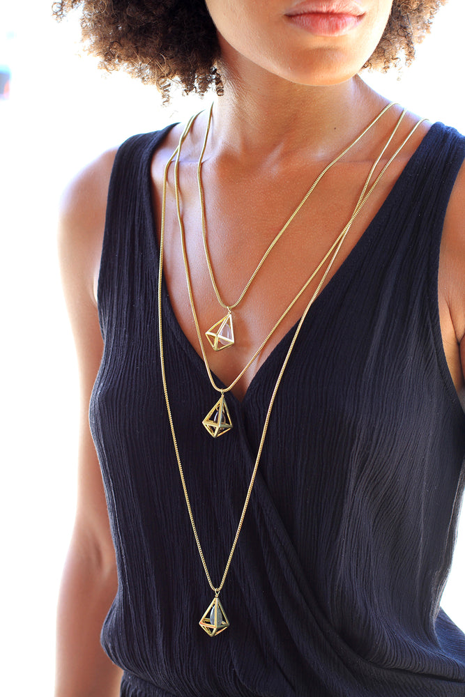 Gold Plated Rose Quartz Cage Necklace