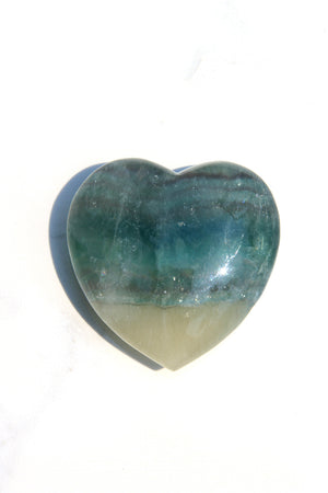 Green Rainbow Fluorite Heart