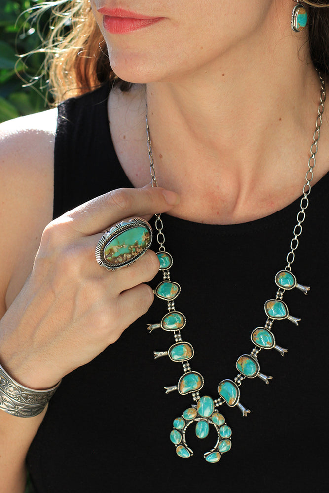 Royston Turquoise Squash Blossom Necklace with Earrings