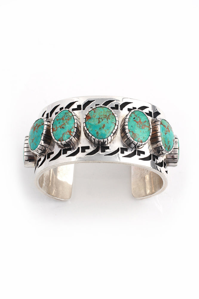 Load image into Gallery viewer, Lucian Koinva Kingman Turquoise Collector's Overlay Cuff